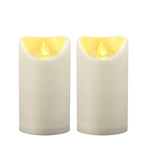 2PCS 3'x5' Waterproof Outdoor Battery Operated Flameless LED Pillar Candles with Timer Flickering Plastic Resin Electric Decorative Light for Lantern Patio Garden Home Decor Party Wedding Decoration