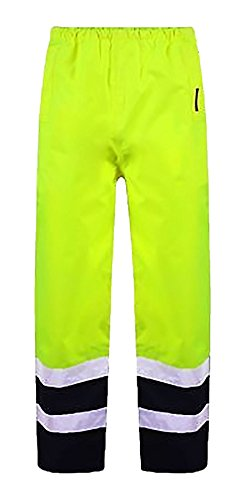 Islander Fashions High Visibility wasserdichte Hosen Herren Arbeitskleidung Reflektierende Regen Abdeckung Hosen Gelb Navy 5X Gro�e