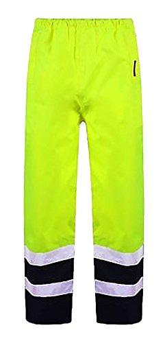 Islander Fashions High Visibility wasserdichte Hosen Herren Arbeitskleidung Reflektierende Regen Abdeckung Hosen Gelb Navy Small