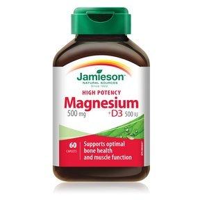 Jamieson High-Potency Magnesium 500 mg + D3 500 IU Formula, 60 caplets