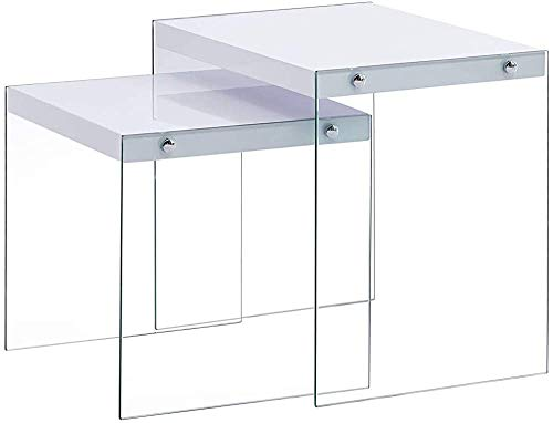Two White Modern Minimalist Coffee Table Side Table Nesting Tables,White