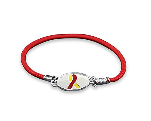 Fundraising For A Cause | Red & Yellow Awareness Ribbon Stretch Bracelets - Fundraising and Awareness Bracelets for Coronavirus COVID-19 & Hepatitis C (1 Bracelet - Retail)