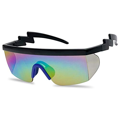 SunglassUP Semi Rimless USA Patriotic American Red White and Blue Sunglasses with Mirrored Side Shield Lens (Black   Blue, Rainbow)