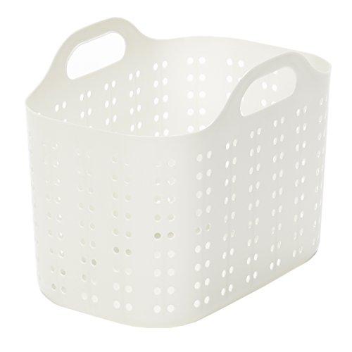 ランドリーバスケット 浅型 ホワイト