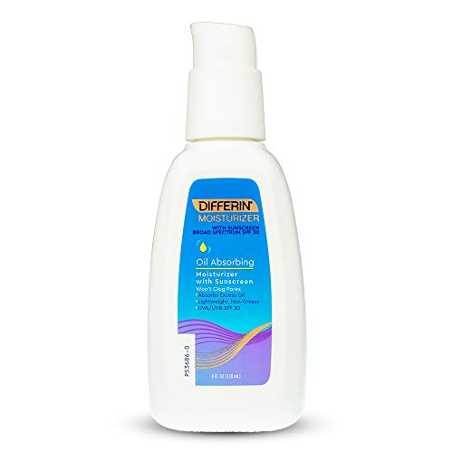 Differin Oil Absorbing Moisturizer with Sunscreen- Broad Spectrum UVA/UVB SPF 30, 1 pack, 4oz