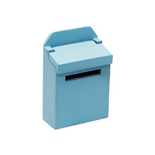 Tensay DIY 1:12 Miniatur Puppenhaus Zubehör Holz Bunte Außen Briefkasten Postbox Mailbox, beste Geschenk für Mädchen Jungen Geburtstag Thanksgiving Weihnachten Silvester, Dekoration Lernspielzeug