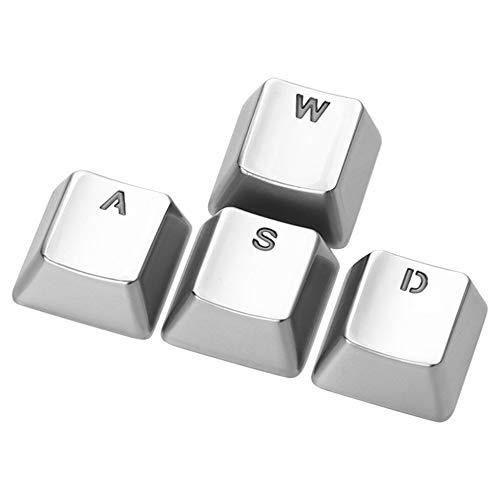 LILI Pfeil Tastenkappen Zinklegierung Metall Hintergrundbeleuchtung Durchscheinende Tastenkappen OEM-Profil FPS Und MOBA-Keyset Für Schalter Mechanische Spieletastaturen,Silver-WASD