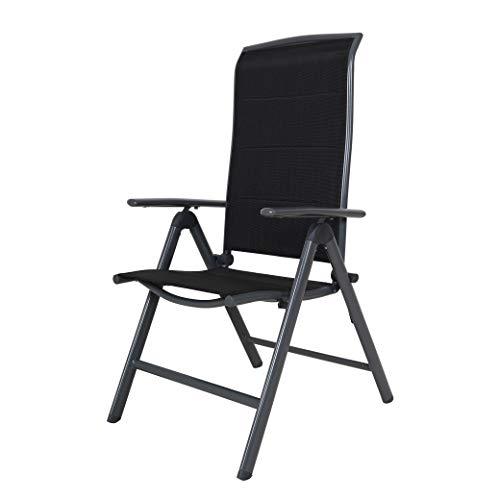 Chicreat - Silla plegable de aluminio tapizada y con respaldo alto (negro y gris)