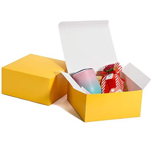 HOUSE DAY Scatole Regalo Scatole Regalo 20x20x10cm per Damigelle d'Onore 10Pack Scatole Regalo Kraft Bianche con Coperchio per la creazione, Scatole per Cupcake (Giallo)