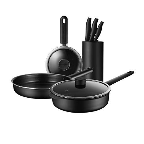 CFGTJ Utensilios de cocina antiadherentes para el hogar, utensilios de cocina, ollas y sartenes con cacerola, sartenes, ollas de cocina, tapas, utensilios(Sin cuchillo) (Size : Style C)