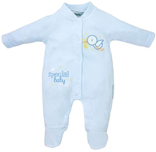 Tiny Baby - Baby Jungen Frühchen Frühgeborene Schlafstrampler Schlafanzug aus Nicki Gr. 44/48 (Tiny)