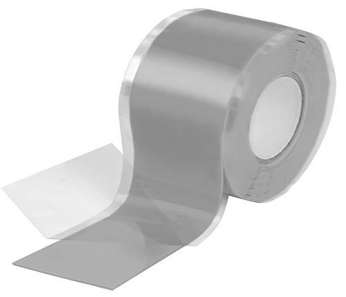Poppstar 1x 3m selbstverschweißendes Silikonband, Silikon Tape Reparaturband, Isolierband und Dichtungsband (Wasser, Luft), 38mm breit, grau