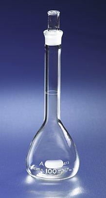 Corning Pyrex Borosilicate Glass Class A Flat Bottom Volumetric Flasks with Pyrex Glass Standard Taper Stopper, 2000ml (Case of 4)