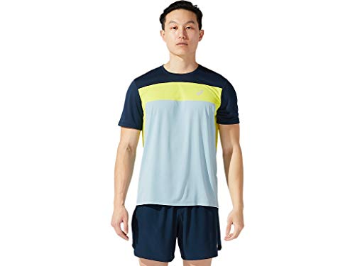 ASICS Men's Race Short Sleeve Top Running Apparel, XL, SMOKE BLUE/FRENCH BLUE