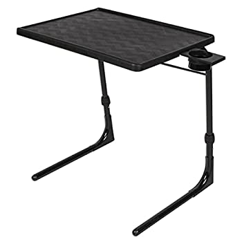 Table-Mate II Plus Stable-Tech Folding TV Tray Tables with Cup Holder - Lightweight Adjustable 6 Height 3 Tilt Angle Adjustments - TV Dinner Tray with Compact Storage  Black
