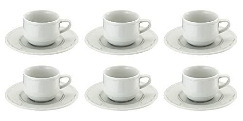Mediterraneo set composto da 6 tazze e 6 piattini da the in finissima porcellana bianca - contenuto cl 19