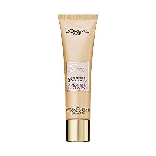 L\'Oréal Paris Getönte Tagescreme, Feuchtigkeitsspendende Tagespflege mit Hyaluron, Für trockene und reife Haut, Age Perfect BB Cream, 02 Mittel bis Dunkel, 1 x 30 ml