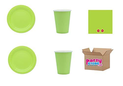 Limoengroen, eenkleurig, van groen papier, tafeldecoratie voor feestjes en feestjes, recyclebare en milieuvriendelijke producten van cellulose – (25 borden à 18 cm, 25 bekers, 50 servetten)