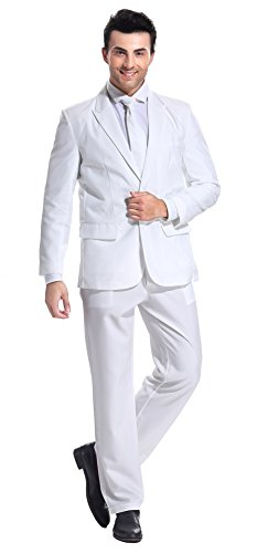 U LOOK UGLY TODAY Men's Party Suit Solid Color Prom Suit for Themed Party Events Clubbing Jacket with Tie Pants White-Large