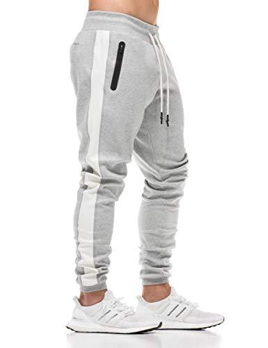FLYFIREFLY Men's Gym Sport Pants Bodybuilding Workout Running Jogger Slim Fit Sweatpants Grey