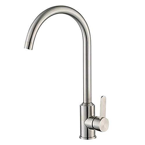HYY-YY Grifos de lavabo de baño Grifería de cocina Grifería de fregadero de cocina de acero inoxidable Cono de cocina grande curvada giratoria caliente y fría grifo del fregadero