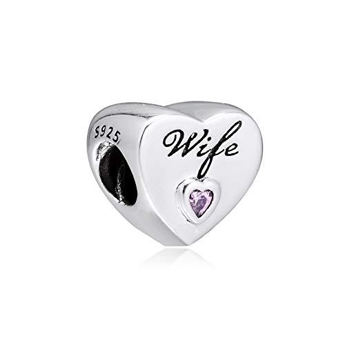 Joyería De Plata De Ley 925 para Mujer Abalorios De Corazón De Amor para Esposa Pulseras Pandora Europeas Collares Fabricación De Joyas DIY