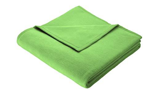 biederlack Kuscheldecke 150x200 cm I Soft Cotton-linde I Wohndecke 60% Baumwolle, 40% dralon I Made in Germany, lindgrün, grün