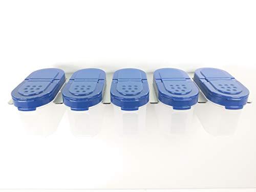 Tupperware 5 Gewürzzwerge in blau incl 1 Gewürzregal von HL Perfektion