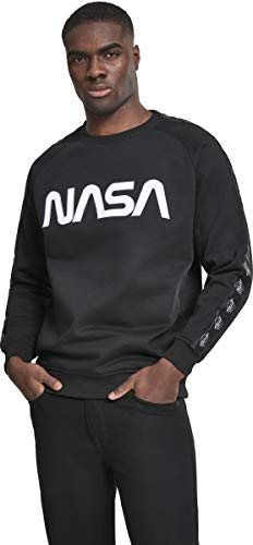 Mister Tee NASA Wormlogo Rocket Tape Crewneck, Felpa Men's, Black, XL