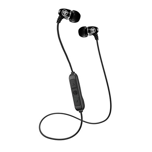 JLab Metal Bluetooth Wireless Rugged Earbuds | Titanium 8mm Drivers | 6 Hour Battery Life | Noise Isolation | Bluetooth 5.0 | IP55 Sweat Proof Rating Extra Gel Tips & Cush Fins | Black…