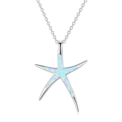 Starfish Necklace, 925 Sterling Silver with White Opal, Hawaiian Beach Nautical Ocean Pendant, Starfish Jewelry Opal Jewelry Valentine Gifts for Women Girlfriend Daughter