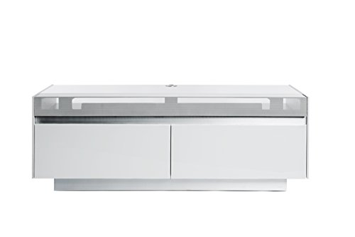 Jahnke TV Lowboard, E1 Spanplatte, lackiert, Sicherheitsglas, Metall, weissglas/matt-Weiss/alu geschliffen, 140 x 50 x 50 cm
