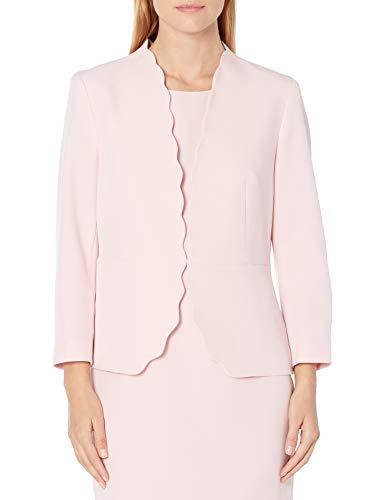 Kasper Women's Long Sleeve Stretch Crepe Scalloped Edge Jacket, Tutu Pink, 18