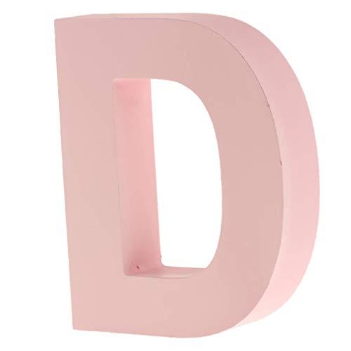 Unbekannt Holzschild für Kinderzimmer, 26 Buchstaben, Motiv A-Z, Rosa D