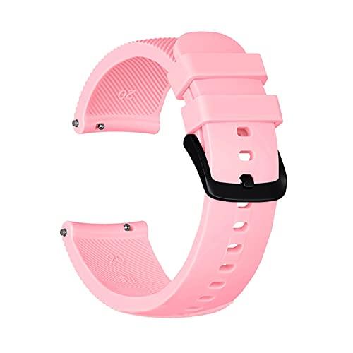 HENHEN Jun store - Correa de silicona de 20 mm para Garmin Venu/Fit para Garmin Move 3 / Style/Luxe para pulsera Amazfit BIP Youth (Color de la correa: rosa, ancho de la correa: 20 mm)