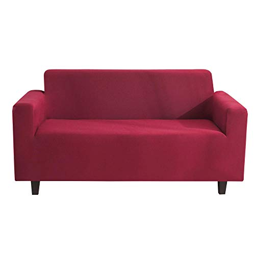 Stretch Fabric Couch Saver,2/3/4 Seater Sofa Dust Cover, Study Couch Slipcovers, Anti-Fouling Sofa Seat Covers For Dining/Rest Area-Wine_Red_4_Seater(235-300CM)