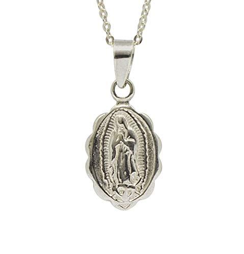 Sicuore Collar Colgante Nuestra Señora de Guadalupe para Mujer Hombre - Plata De Ley 925 Incluye Cadena De Plata De 45cm Y Estuche para Regalo