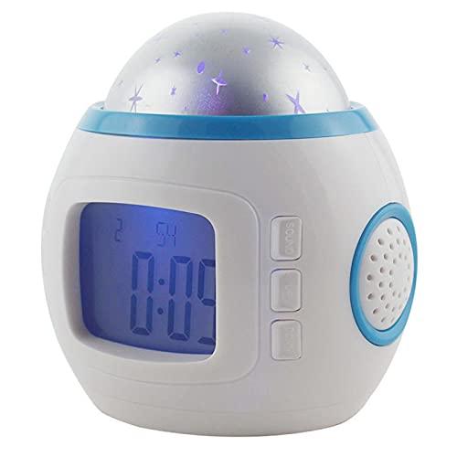 Liuying Reloj despertador de proyección única, habitación del bebé de los niños, música, proyección del cielo estrellado, proyector luminoso, reloj despertador creativo multifuncional