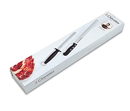 3 Claveles 00966 - Juego de cuchillos para rebanar de filo hueco y acero para afilar, 29 cm, Negro