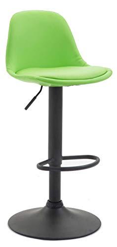 CLP Taburete Bar Kiel de Cuero PU I Taburete de Cocina con Reposapiés & Respaldo I Taburete Regulable en Altura I Color:, Color:Verde Claro, Color del Marco:Negro
