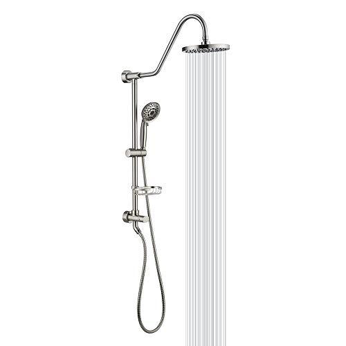 "Shower System with 8"" Rain Shower Head, 5-Function Shower Head with Handheld, Adjustable Slide Bar, 59"" Stainless Steel Hose, Brushed Nickel"
