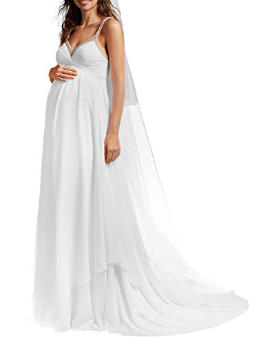 SongSurpriseMall Brautkleid Hochzeitskleid Schwangere Lang Brautkleider Hochzeitskleider Damen Abendkleider Chiffon Sommer Perlen mit Schleppe Weiß EU42