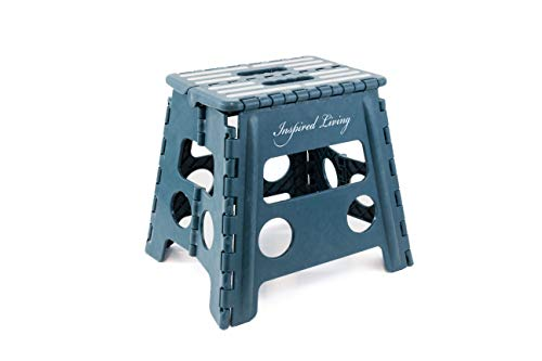Inspired Living Folding Step Stool Heavy Duty, 13' High, Dark Teal