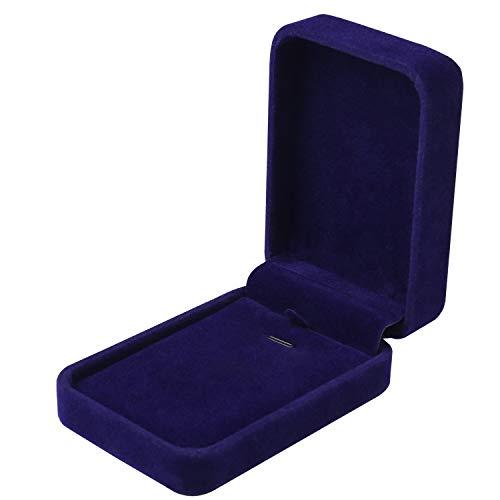 nuoshen Necklace Box, Velvet Jewelry Pendant Gift Box Organizer Storage Cases (Blue)