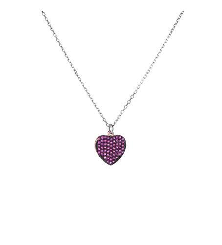 Remo Gammella Collar mujer corazón plata 925 bañado en oro blanco y circonitas fucsia, collar corazón y cristales fucsia. Longitud 50 cm