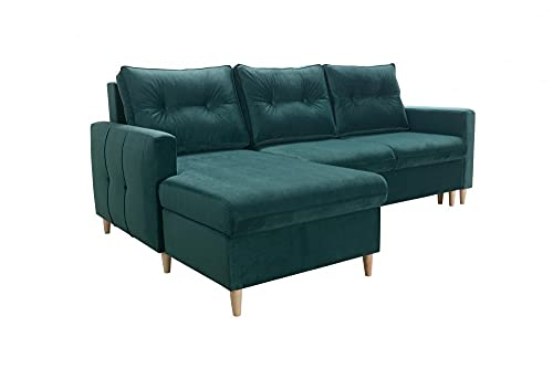 Ecksofa Candy Sofa Wohnlandschaft Couch Links Rechts mit Schlaffunktion Bettkasten Möbel 26 (Links)