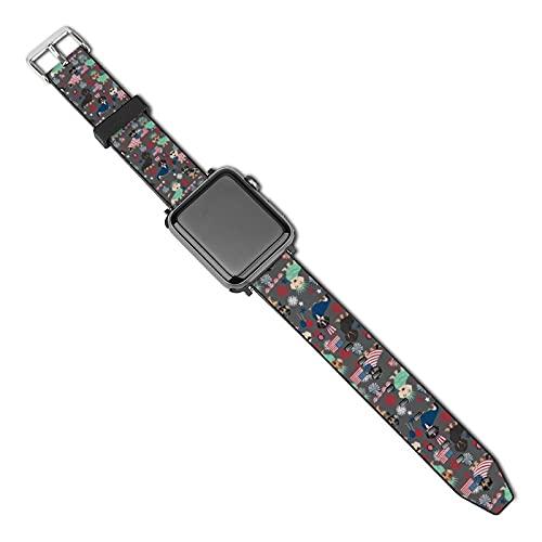 Cinturino di ricambio compatibile con Apple Watch Band 38 mm 40 mm, cinturino di ricambio per iWatch Series 5 4 3 2 1, bassotto 4 luglio, 4 luglio, 4 luglio, carbone di legna