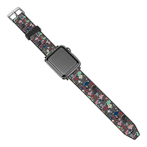 La última correa de reloj de estilo compatible con Apple Watch Band 38 mm 40 mm Correa de repuesto para iWatch Series 5/4/3/2/1, Dachshund 4 de julio 4 de julio perro carbón