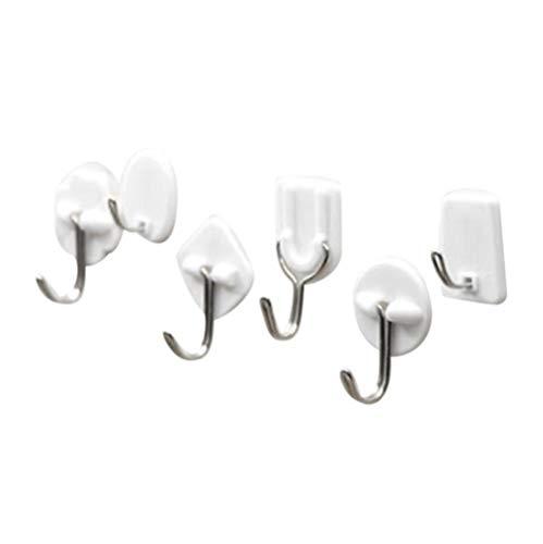 CTOBB 6PCS Strong Adhesive haken Wand-Deur Sticky-Ophanghouder keuken badkamer wit, wit