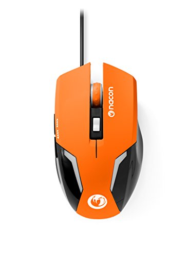 NACON GM-105 - Ratón (Mano Derecha, Óptico, USB, 2400 dpi, Negro, Naranja)